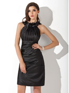 Sheath Scoop Neck Knee-Length Charmeuse Cocktail Dress With Ruffle Flower(s) (016021272)