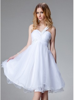 Empire One-Shoulder Knee-Length Taffeta Organza Homecoming Dress With Ruffle Beading