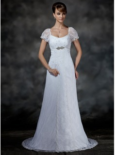 Empire Scoop Neck Court Train Satin Lace Wedding Dress With Beadwork