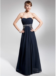 A-Line/Princess Sweetheart Floor-Length Chiffon Evening Dress With Ruffle Beading (017014676)