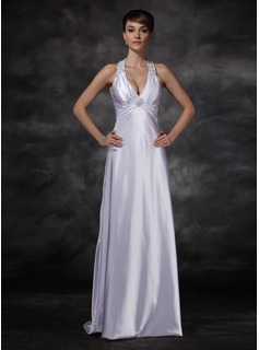 Sheath/Column Halter Sweep Train Charmeuse Wedding Dress With Ruffle Beadwork (002001609)