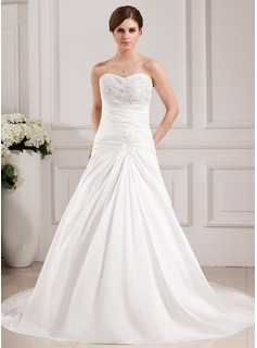 A-Line/Princess Sweetheart Chapel Train Taffeta Wedding Dress With Ruffle Lace Beadwork