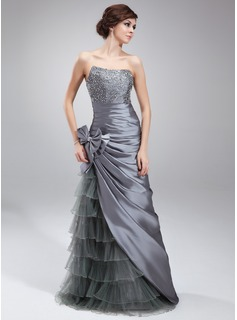 Sheath/Column Sweetheart Floor-Length Taffeta Tulle Prom Dress With Beading Sequins Bow(s) Cascading Ruffles