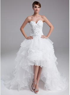 A-Line/Princess Sweetheart Asymmetrical Organza Satin Prom Dress With Lace Beading