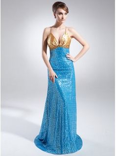 A-Line/Princess V-neck Sweep Train Charmeuse Sequined Evening Dress With Ruffle Beading