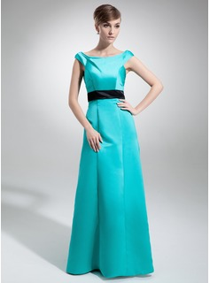 A-Line/Princess Off-the-Shoulder Floor-Length Satin Bridesmaid Dress With Sash
