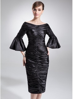 Sheath Off-the-Shoulder Knee-Length Charmeuse Mother of the Bride Dress With Ruffle (008006229)