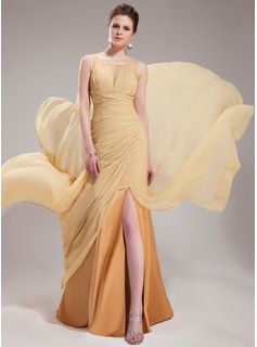 A-Line/Princess Scoop Neck Court Train Chiffon Tulle Evening Dress With Ruffle Beading Split Front