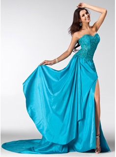 A-Line/Princess Sweetheart Court Train Taffeta Tulle Prom Dress With Lace Beading Sequins Split Front