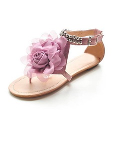 Leatherette Low Heel Flip Flops Flats With Flower (087014667)