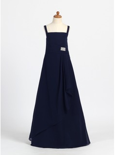A-Line/Princess Square Neckline Floor-Length Chiffon Junior Bridesmaid Dress With Ruffle Crystal Brooch (009007376)