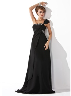 Empire One-Shoulder Sweep Train Chiffon Evening Dress With Ruffle Beading