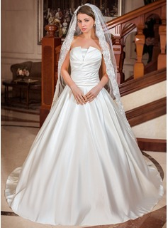 A-Line/Princess Scalloped Neck Chapel Train Satin Wedding Dress With Ruffle (002012697)