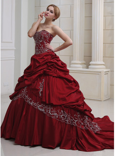 Ball-Gown Sweetheart Cathedral Train Taffeta Wedding Dress With Embroidery Ruffle Beadwork (002011490)