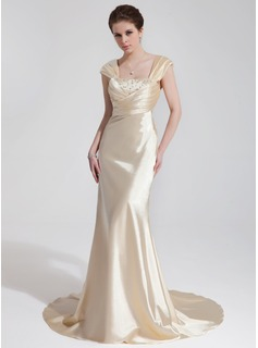 Sheath/Column Sweetheart Court Train Charmeuse Wedding Dress With Ruffle Beadwork Sequins