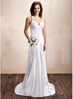 Sheath/Column Halter Sweep Train Charmeuse Wedding Dress With Ruffle Lace (002012054)