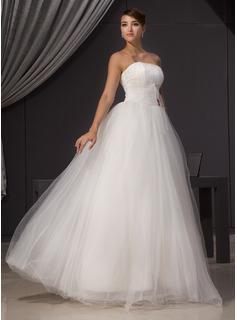 A-Line/Princess Strapless Floor-Length Tulle Wedding Dress With Ruffle Beadwork (002014470)