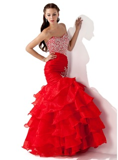 Mermaid Sweetheart Floor-Length Organza Satin Prom Dress With Ruffle Beading Sequins (018005174)