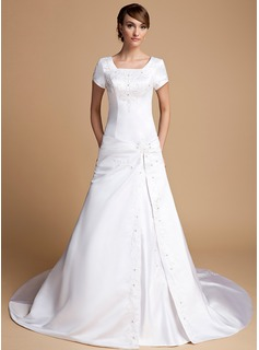 A-Line/Princess Square Neckline Cathedral Train Satin Wedding Dress With Embroidery Ruffle (002014719)