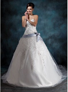 Ball-Gown Sweetheart Chapel Train Satin Tulle Wedding Dress With Lace Sash Beading Bow