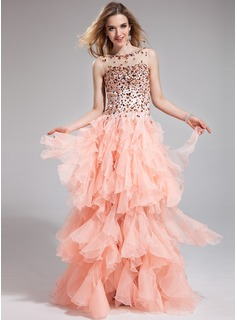 A-Line/Princess Scoop Neck Floor-Length Organza Charmeuse Prom Dress With Beading Cascading Ruffles