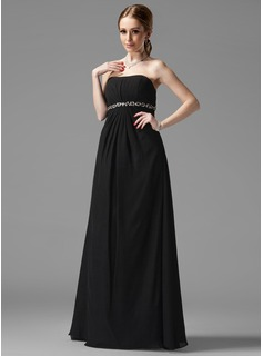 Empire Sweetheart Floor-Length Chiffon Maternity Bridesmaid Dresses With Ruffle Beading (045022486)