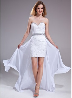 A-Line/Princess Sweetheart Asymmetrical Chiffon Lace Prom Dress With Beading