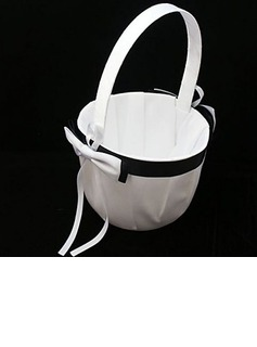 Simple Black & White Flower Girl Basket In Satin(102018042)