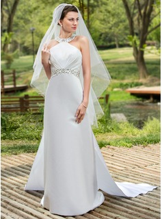 A-Line/Princess Halter Watteau Train Satin Wedding Dress With Ruffle Beadwork Sequins (002001180)