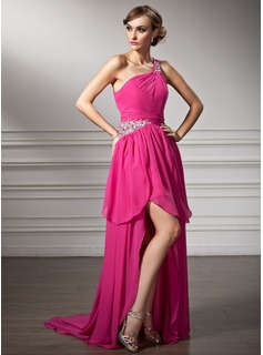 A-Line/Princess One-Shoulder Asymmetrical Chiffon Prom Dress With Ruffle Beading