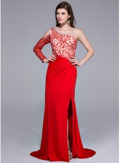 A-Line/Princess One-Shoulder Sweep Train Charmeuse Jersey Prom Dress With Beading