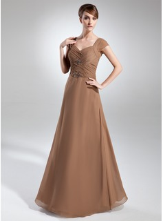 A-Line/Princess Strapless Floor-Length Chiffon Mother of the Bride Dress With Ruffle Beading (008015734)