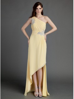 A-Line/Princess One-Shoulder Asymmetrical Chiffon Holiday Dress With Ruffle Beading Appliques (020015683)