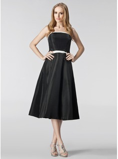 A-Line/Princess Strapless Tea-Length Taffeta Bridesmaid Dress With Sash