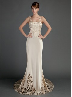 Sheath/Column Chapel Train Charmeuse Wedding Dress With Lace (002015727)