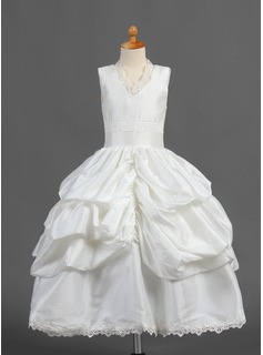 A-Line/Princess V-neck Tea-Length Taffeta Flower Girl Dress With Ruffle Lace