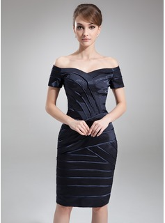 Sheath Off-the-Shoulder Knee-Length Charmeuse Mother of the Bride Dress (008006335)