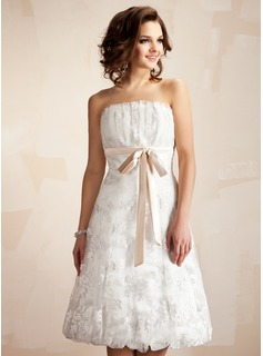 A-Line/Princess Scalloped Neck Knee-Length Charmeuse Lace Wedding Dress With Ruffle Sash Bow