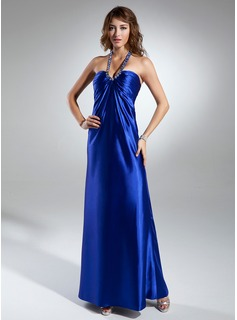 A-Line/Princess Halter Floor-Length Charmeuse Mother of the Bride Dress With Ruffle Beading (008015350)
