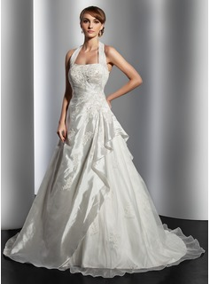 A-Line/Princess Halter Court Train Taffeta Organza Wedding Dress With Ruffle Lace Beading