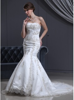 Mermaid Sweetheart Chapel Train Satin Tulle Wedding Dress With Lace Beadwork (002000301)