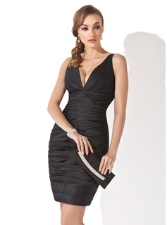Sheath V-neck Knee-Length Satin Little Black Dress With Ruffle (043004241)