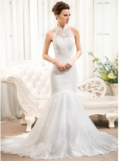 Trumpet/Mermaid High Neck Court Train Tulle Lace Wedding Dress