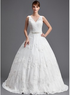 Ball-Gown V-neck Chapel Train Satin Tulle Wedding Dress With Lace Beading Sequins
