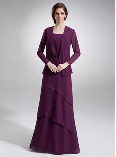 Sheath Scoop Neck Floor-Length Chiffon Mother of the Bride Dress With Beading (008006140)