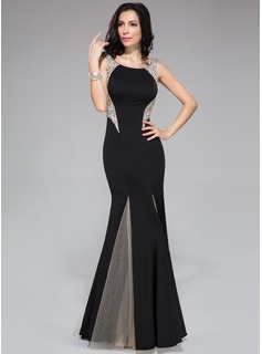 Trumpet/Mermaid Scoop Neck Sweep Train Tulle Jersey Prom Dress With Beading Sequins