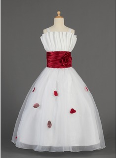 A-Line/Princess Scalloped Neck Floor-Length Organza Charmeuse Flower Girl Dress With Ruffle Sash Flower(s) (010014631)