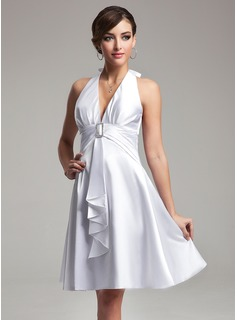 Empire Halter Knee-Length Charmeuse Bridesmaid Dress With Ruffle Crystal Brooch (007021071)