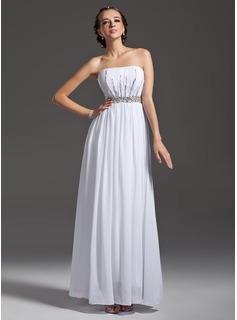 A-Line/Princess Strapless Floor-Length Chiffon Prom Dress With Ruffle Beading Sequins