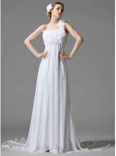 Empire One-Shoulder Court Train Chiffon Wedding Dress With Ruffle Flower(s) (002000441)